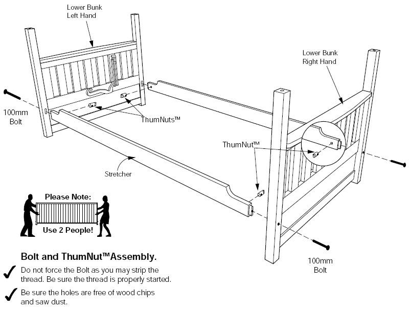 Illustratie met montagehandleiding voor een bed.