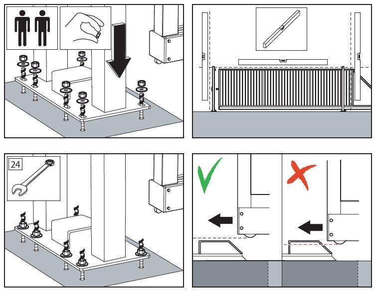 Illustraties uit een installatiehandleiding voor een hekwerk.