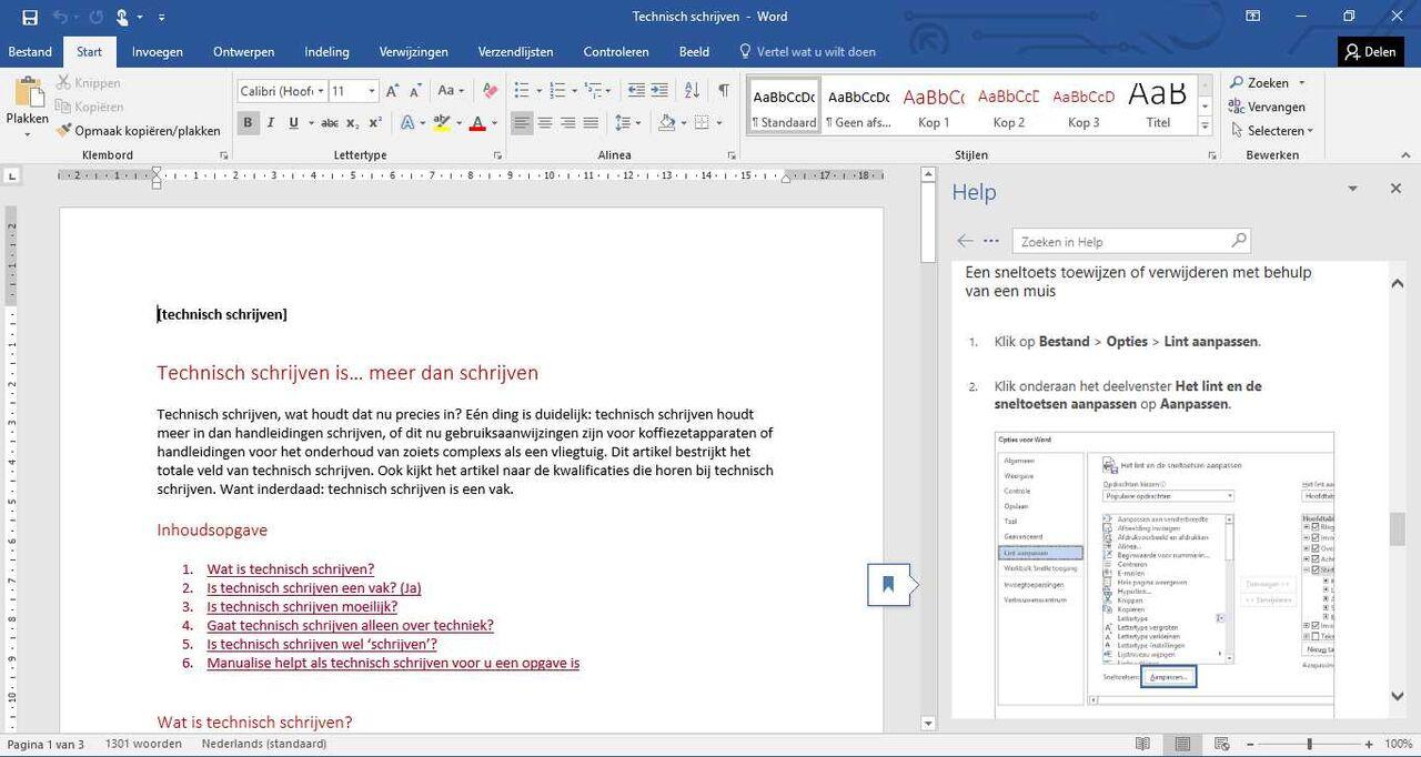 Helpscherm dat oproepbaar is tijdens het werken met Microsoft Word 2016